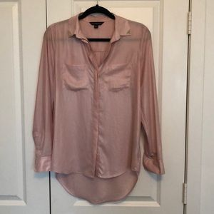 Dusty rose sheer button down
